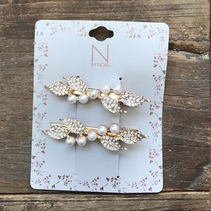 Gold and Pearl Leaf Hair Clips
